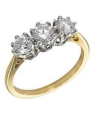 9 Carat Gold 1ct Diamond Trilogy Ring