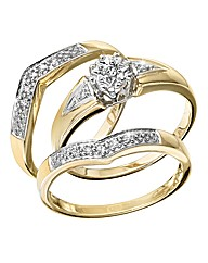 9 Carat Gold Diamond Ring Set