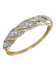 9 Carat Gold Diamond Twist Ring