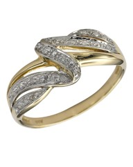 9 Carat Gold Diamond Wave Ring