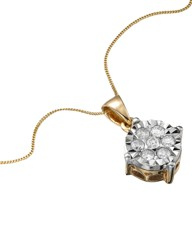 9ct Gold Illusion-Set Diamond Pendant