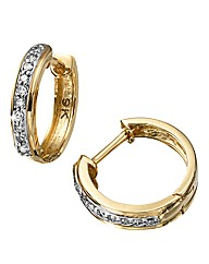 9 Carat Gold Diamond-Set Hoop Earrings