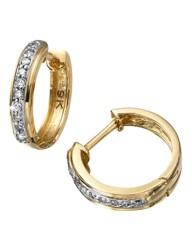 9 Carat Gold Diamond-Set Hoop Earrings