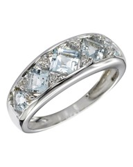 9 Carat White Gold Aquamarine Band Ring