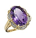 9 Carat Gold Amethyst Diamond Set Ring