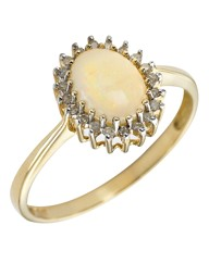 9 Carat Gold Oval Opal Stone Ring