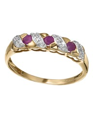9 Carat Gold Ruby & Diamond Set Ring