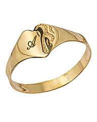 9 Carat Gold Heart-Shaped Initial Ring