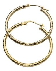 9 Carat Gold Hollow Hoop Earrings