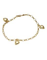 9 Carat Gold Heart Charm Bracelet