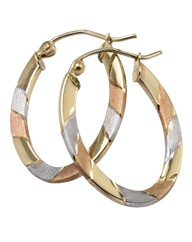 9 Carat Gold 3-Colour Hoop Earrings