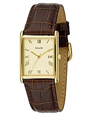 Accurist Gents Leather Strap Date Watch