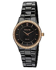 Accurist Ceramic Ladies Black Watch