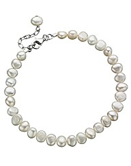 Ladies Pearl & Sterling Silver Bracelet