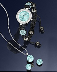 Crystal Watch, Pendant & Earring Set