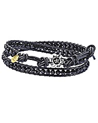Ladies Wrap Around Leather&Bead Bracelet