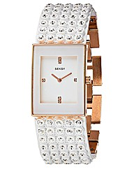 Seksy Ladies White Glitzy Watch