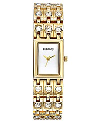 Gold-tone Glitzy Ladies Bracelet Watch