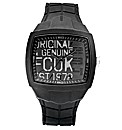 FCUK Gents Black Silicon Watch