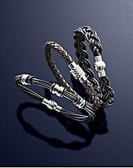 Set of 3 Gents Leather Bracelets