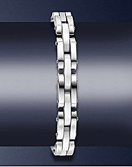Gents Stainless Steel Ceramic Bracelet