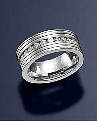 Gents Stainless Steel & CZ Ring