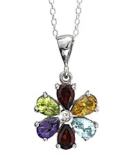 Sterling Silver Multi Gemstone Pendant