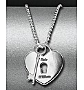 Sterling Silver Key & Heart Pendant