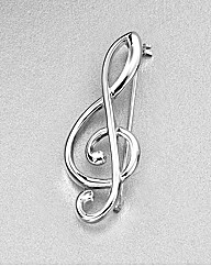 Sterling Silver Musical Note Brooch