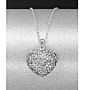 Sterling Silver 3D Crystal Heart Pendant