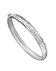 Sterling Silver Diamond-Cut Bangle