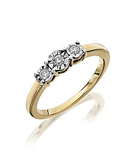9ct Gold Illusion-Set Trilogy Ring