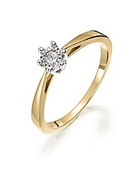 9ct Gold Illusion-Set Solitiare Ring