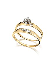 9ct Gold Two-Piece Diamond-Set Ring