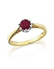9ct Gold Ruby Solitaire Ring