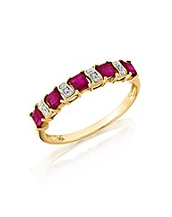 9ct Gold 1ct Ruby & Diamond-Set Ring