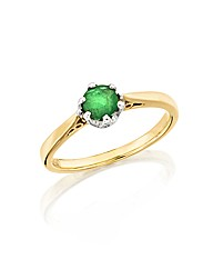 9ct Gold Emerald Solitaire Ring