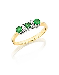 9ct Gold Emerald and Diamond-Set Ring