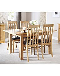 Solid Ash Extension Dining Set 4 Chairs