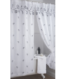 Rose Lined Voile Bath Curtain