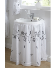 Rose Lined Voile Sink Surround