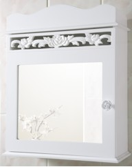 Rose Carved Mirrored Bathroom Cabinet