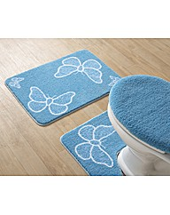 Butterflies Printed Bath Mat Set