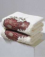 Pair of Floral Bloom Hand Towels by CL