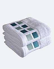 Mosaic Squares pair of Hand Towels