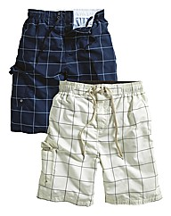 Southbay Pack of 2 Check Swimshorts