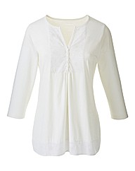 Broderie Anglaise Trim Cotton Jersey Top