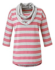 Jersey Stripe Top With Snood