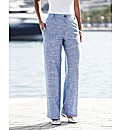 Chambray Linen Mix Trousers 27in