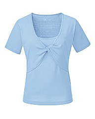 Pale Blue Twist Front T-Shirt